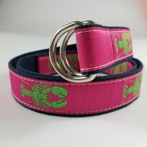 Belted Cow Lobster D-Ring Belt in Raspberry, L